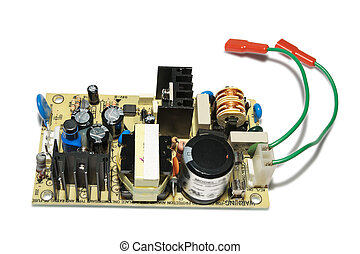 Switching power supply. Closeup, isolated on a white background.