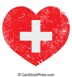 switerland, bandera, retro, corazón