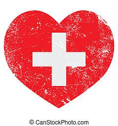 Switerland heart retro flag