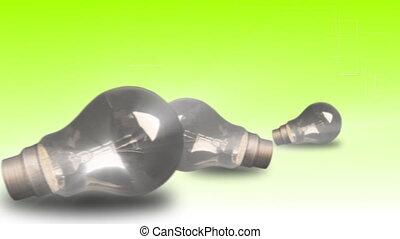 swithcing, ampoules, trois, lumière
