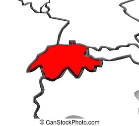 A close up of Switzerland on an abstract 3d map of European countries