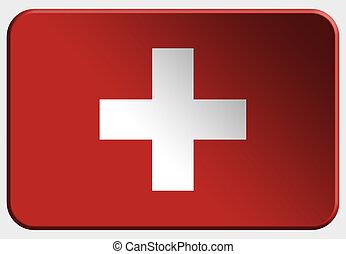Switzerland 3D button on white background