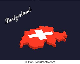 Switzerland 3d map vector with the swiss flag