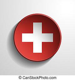 Switzerland 3d Round Button