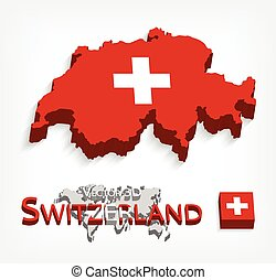 Switzerland 3D ( Swiss Confederation ) ( flag and map ) ( transportation and tourism concept )