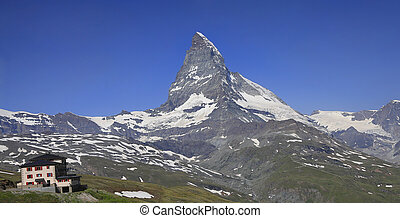 Switzerland Alps, Matterhorn and alpine hotel