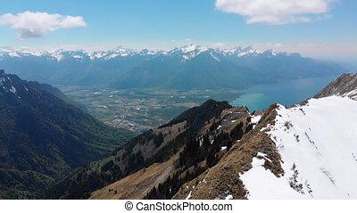 switzerland., alps., suisse, vue aérienne, crêtes, neigeux,...