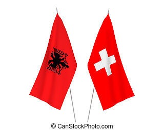 Switzerland and Albania flags - National fabric flags of ...