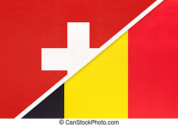 Switzerland or Swiss Confederation and Belgium, symbol of national flags from textile. Relationship, partnership and championship between two European countries.