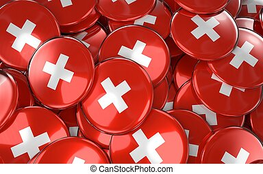 Switzerland Badges Background - Pile of swiss Flag Buttons.