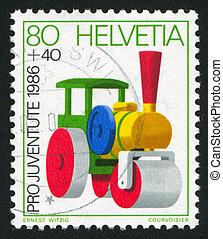 SWITZERLAND - CIRCA 1986: stamp printed by Switzerland, shows Steamroller, Toy, circa 1986