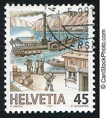 Packet Steamer - SWITZERLAND - CIRCA 1987: stamp printed by ...