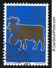 Golden Cow - SWITZERLAND - CIRCA 1996: stamp printed by...