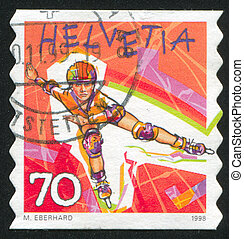 Rollerblading - SWITZERLAND - CIRCA 1998: stamp printed by...