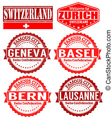 Switzerland cities stamps