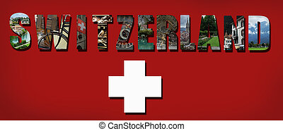 Switzerland collage on Swiss flag background
