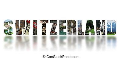 Switzerland collage on white background
