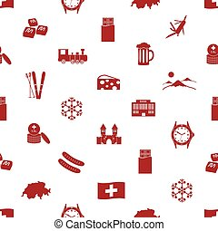 Switzerland country theme icons seamless pattern eps10