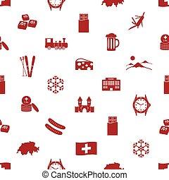 Switzerland country theme icons seamless pattern eps10