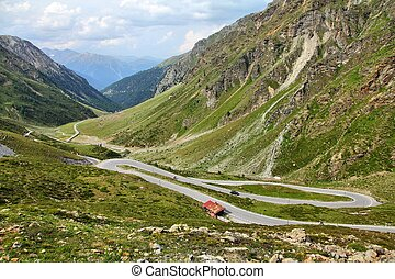Switzerland. Famous road to Stelvio Pass and Umbrail Pass in...
