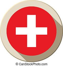Switzerland Flag Button Icon Modern