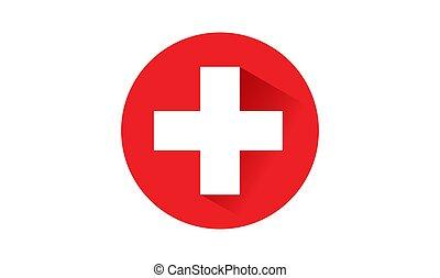 Switzerland flag button with long shadow on white background ,illustration, textured background, Symbols of Switzerland