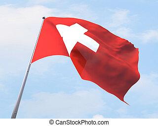 Switzerland flag flying on clear sky.