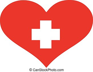 Switzerland flag heart