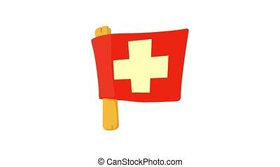Switzerland flag icon animation best object on white background