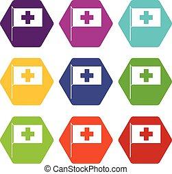 Switzerland flag icon set color hexahedron
