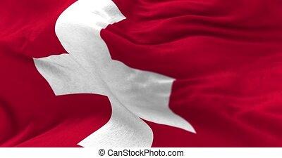 Switzerland Flag in the Wind - Close up Switzerland flag...