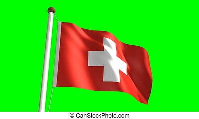 Switzerland flag (Loop & green scre