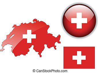 Switzerland flag, map and glossy bu - Switzerland, Swiss...