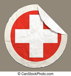 Switzerland flag on a paper label