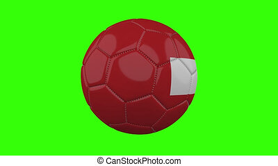 Switzerland flag on ball rotates on transparent green alpha background, loop