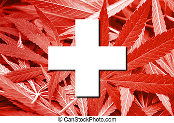 Switzerland Flag on cannabis background. Drug policy. ...
