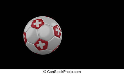 Switzerland flag on flying soccer ball on transparent background, alpha channel