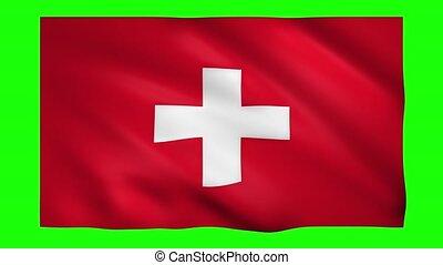 Switzerland flag on green screen for chroma key