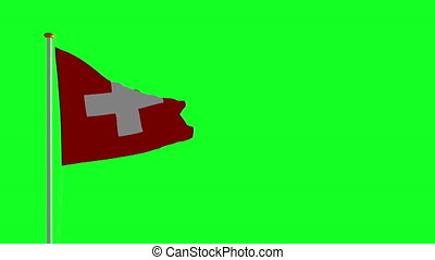 Switzerland flag on green screen