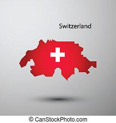 Switzerland flag on map