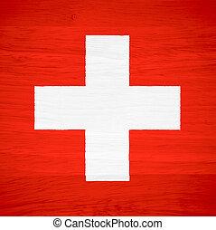 Switzerland flag on wood texture