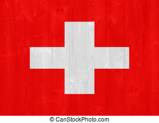 Switzerland flag painted on a wood plank texture