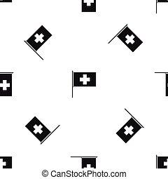 Switzerland flag pattern seamless black