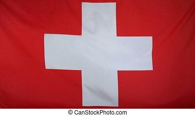 Switzerland Flag real fabric - Textile flag of Switzerland...