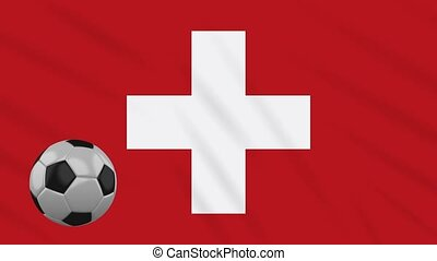 Switzerland flag waving and football rotates, loop