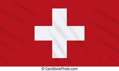 Switzerland flag waving cloth background, loop