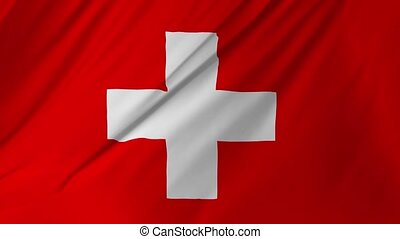 Switzerland flag waving in the wind 2 in 1