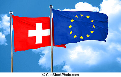 switzerland flag with european union flag, 3D rendering