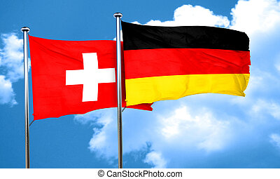 switzerland flag with Germany flag, 3D rendering