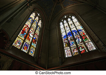 Switzerland, Geneva, stained glass window in the Cathedral of St. Peter